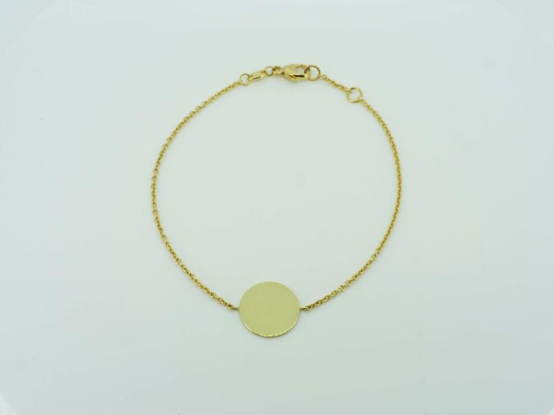 Dekoratives Goldarmband mit runder Gravurplatte