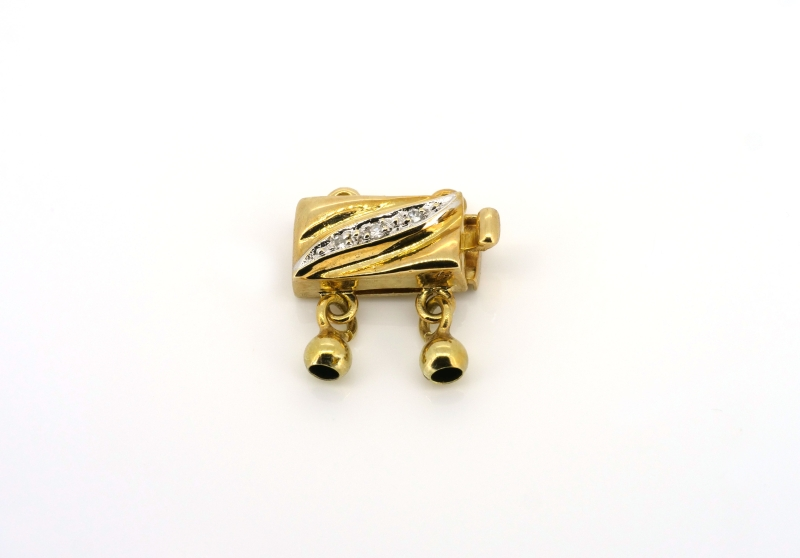 Effektvoller Bicolorverschluss für zweireihiges Perlenarmband oder Perlenkette